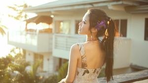 Women Model Long Hair Dark Hair Sunlight Asian Chinese Model 3600x2400 wallpaper