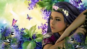 Artistic Bird Fantasy Garden Girl Lilac Woman 1920x1440 Wallpaper