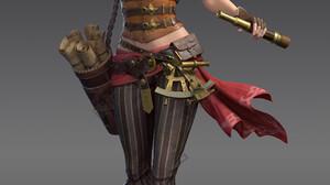 Cifangyi CGi Women Blonde Scrolls Boots Wind Flower In Hair Video Game Art Spyglass Pirates 3200x5000 wallpaper