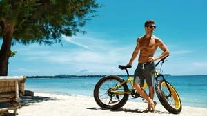Man Bicycle Beach Sunglasses 4800x3200 Wallpaper