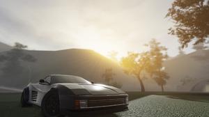 Roblox Pacifico Roblox Game Sunrise Sun Rays Ferrari Testarossa Trees Grass Mountains 3588x1892 Wallpaper
