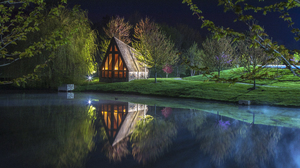 Landscape Nature Water Lake Trees Grass Plantes Night House Reflection Sky Cabin 5472x3648 Wallpaper
