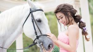 Asian Braid Brown Eyes Brunette Girl Horse Model Pink Dress Smile Woman 2047x1290 Wallpaper