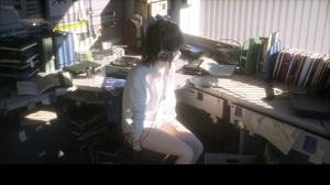 Bookcase Room Headsets White Shirt Anime Girls Novelance 1920x1080 Wallpaper