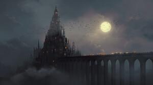 Jeff Miller Clouds Moon Birds Flying Night Mist Smoke Castle Bats Bridge Digital Art Artwork Lights  2615x1400 Wallpaper