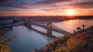 Bridge Budapest Building City Hungary Liberty Bridge Budapest River Sky Sunset 2048x1365 Wallpaper