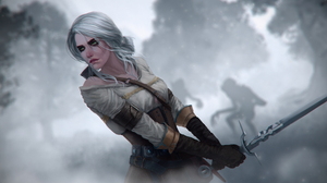 Ciri The Witcher Woman Warrior Sword White Hair Silhouette Green Eyes 3252x1920 Wallpaper