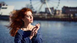 Women Model Redhead Long Hair Women Outdoors Water Closed Eyes Freckles Sweater River Ferris Wheel 2000x1429 Wallpaper