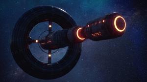 Spaceship Space Stars 3D Night Dark UFO Universe Science Fiction Vehicle Futuristic Flying Galaxy Ar 4488x2524 Wallpaper
