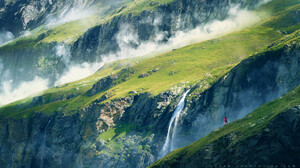 Artwork Digital Art Nature Mountains Waterfall 1536x864 wallpaper