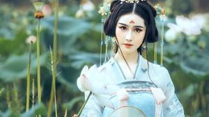 Asian Black Hair Brown Eyes Depth Of Field Face Girl Kimono Model Woman 2560x1707 Wallpaper