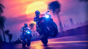 Cyberpunk Motorcycle Glitch Art Retro Style Glowing Sun 80s Science Fiction 3D Trees Sunset Colorful 7000x3938 Wallpaper