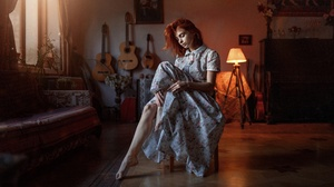 Dress Girl Model Mood Redhead Woman 2560x1440 Wallpaper