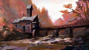 Digital Art Nature Landscape Stones Mill River Trees Women Wooden Huts Slawek Fedorczuk 2114x1080 Wallpaper