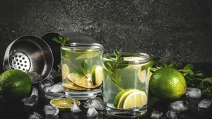 Drink Glass Ice Cube Lime Mint Mojito Still Life 3872x2592 wallpaper