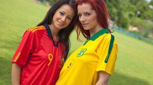 Model Women Long Hair Czech Women Sports Jerseys Brunette Redhead Two Women 5000x3333 Wallpaper