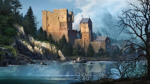 Artwork Digital Art Castle Nature Lake 1920x921 wallpaper