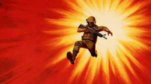 Illustration Soldier Red Background Weapon Military Artwork 3840x2160 Wallpaper