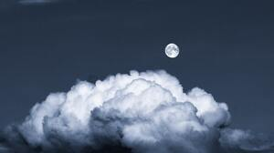 Moon Night Sky Clouds 4094x2730 Wallpaper