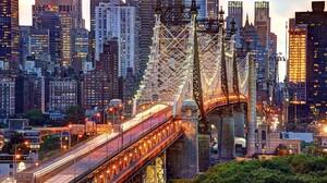 Manhattan Queensboro Bridge Skyscraper New York City Lightning Road City Evening Building Trees East 2040x1360 Wallpaper