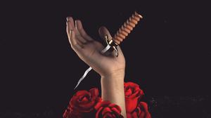 CGi Digital Art Render Rendering Hands Dagger Knife Roses 1920x1080 Wallpaper