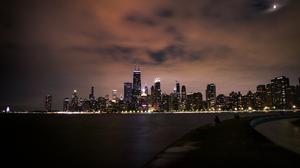 City Lights Chicago Skyline Urban John Hancock Tower 3000x2001 Wallpaper