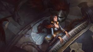 Taras Susak Artwork Musical Instrument Music Women Closed Eyes Fantasy Art Fantasy Girl Dark Hair Lo 3840x2042 Wallpaper