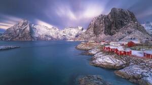 House Lake Lofoten Mountain Norway Reine Snow Town Winter 2048x1365 Wallpaper