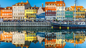 Man Made Copenhagen House City Colors Colorful Reflection Boat 2048x1365 wallpaper