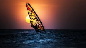 Ocean Sea Sport Sunset Windsurfing 2560x1440 Wallpaper