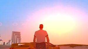 Grand Theft Auto Vice City Sunset Sun Rays Tommy Vercetti Lamborghini Diablo Building Beach Yellow C 3588x1892 Wallpaper