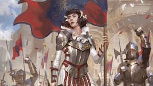 Joan Of Arc Brown Hair Woman Warrior Banner Short Hair 3500x2187 Wallpaper