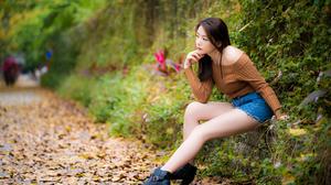 Women Model Asian Brunette Parted Lips Profile Bare Shoulders Sweater Legs Boots Fall Depth Of Field 5000x3335 Wallpaper