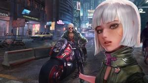 Motorcycle Futuristic Girl Man White Hair 2560x1304 Wallpaper