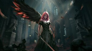 Angel Cathedral Church Dark Fallen Angel Fantasy Girl Pink Hair Sword Wings Woman 1920x977 wallpaper