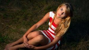 Model Women Blonde Blue Eyes Mouth Lips Lipstick Legs Feet Barefoot Dress Grass Sitting Looking At V 2048x1365 Wallpaper