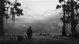 Red Dead Redemption 2 PC Gaming Video Games Monochrome Screen Shot Rockstar Games 3766x1485 Wallpaper