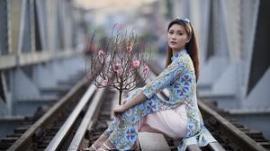 Asian Model Women Long Hair Dark Hair Depth Of Field Women Outdoors Sitting Railroad Track Barefoot  3840x2560 Wallpaper