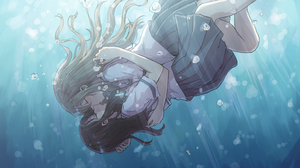 Anime Girls Love Kissing School Uniform Water Original Characters Betock Underwater 5546x3267 Wallpaper