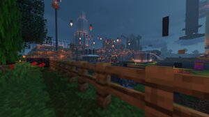 Minecraft Screen Shot Fence Night Shaders 1920x1080 Wallpaper