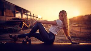 Woman Sitting Blonde Long Hair Brown Eyes High Heels Sunset Depth Of Field 2048x1365 Wallpaper