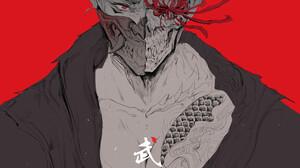 Artwork Samurai Fantasy Art Red Background Red Eyes 3508x5517 Wallpaper