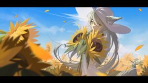 Anime Anime Girls Digital Art Artwork 2D Portrait Animal Ears Long Hair Hat Sunflowers NewFlame 1920x1080 Wallpaper