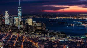 Usa City Night Cityscape Horizon Building Skyscraper 2048x1367 Wallpaper