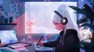 Artwork Women White Hair Headphones Laptop Cats 1920x1053 Wallpaper