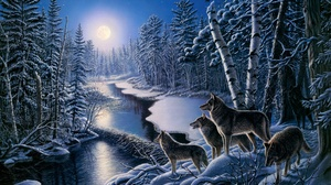 Artistic Snow Wildlife Winter Wolf Predator Animal 2688x1803 Wallpaper