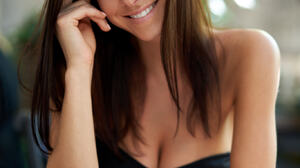 Milan R Women Brunette Long Hair Straight Hair Looking At Viewer Smiling Black Clothing Glass Table  1366x2048 wallpaper