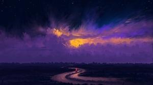 Digital Painting Landscape Night Sky Moon Clouds River Sailing Boat BisBiswas 1920x1080 Wallpaper