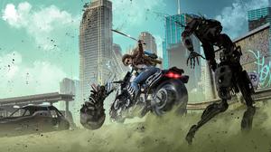 Motorcycle Robot Sword Vehicle Woman Warrior 3840x2330 Wallpaper
