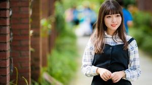 Asian Brunette Depth Of Field Girl Model Smile Woman 6000x4002 Wallpaper